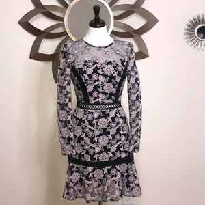 Purple Crochet Mesh Embroidered Lace Dress